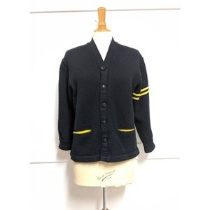 Vintage 1950's Varsity Cardigan Black Small/Medium